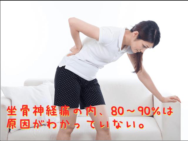 座骨神経痛の内、80〜90%は原因がわかっていない。